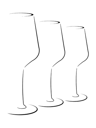 Abstract Stylized set of wineglasses