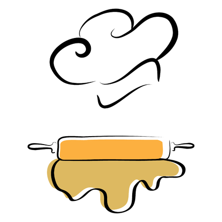stylized chef hat and dough Ilustrace
