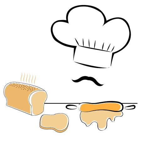 stylized chef hat and bread Ilustrace
