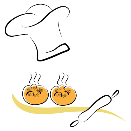 stylized chef hat and pastres