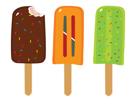 Frozen Popsicles Various Flavors Illustration