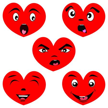 Cartoon heart set with faces
