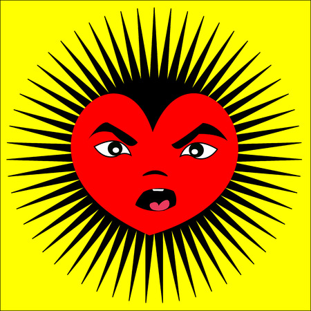 Angry heart on yellow with black spikes Illustration
