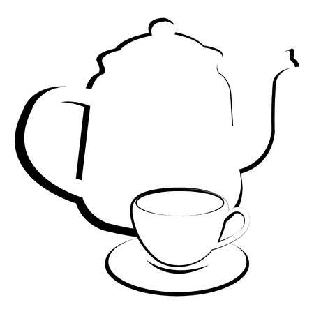 coffeecup: Stylized teapot with teacup Illustration