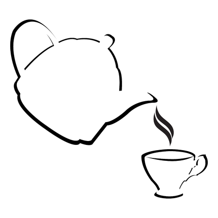 ink pot: Stylized teapot with teacup Illustration