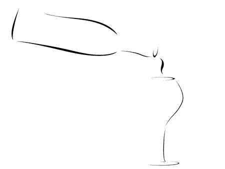 Abstract winebottle pouring into wineglass