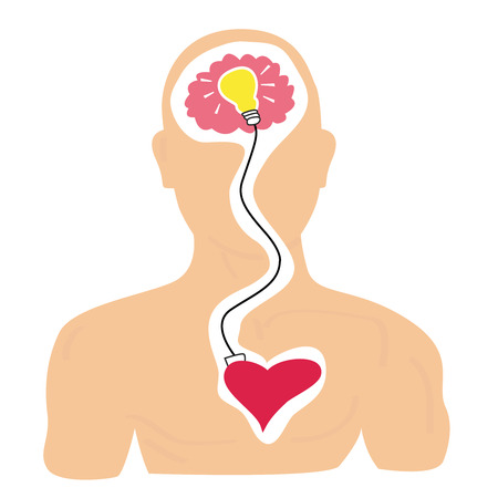 Head, heart and idea Illustration