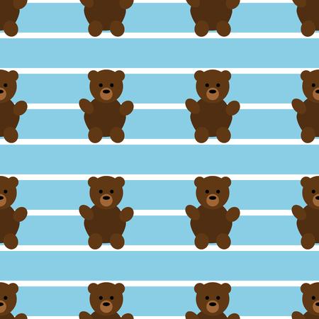 Seamless Blue Teddy Bear Pattern