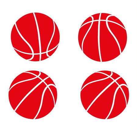 Set of Red Basketballs Illustration