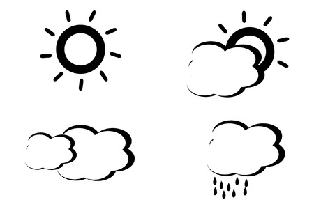 Abstract style black and white weather icons 矢量图像