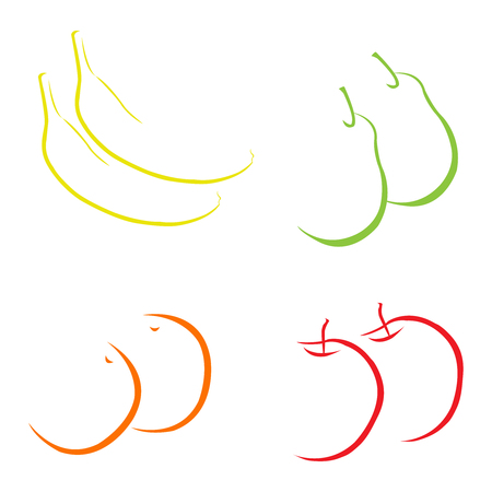 Abstract hand drawn fruits on white background