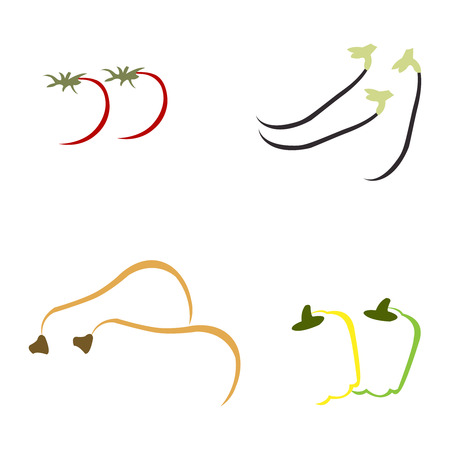 Abstract hand drawn vegetables on white background Illustration