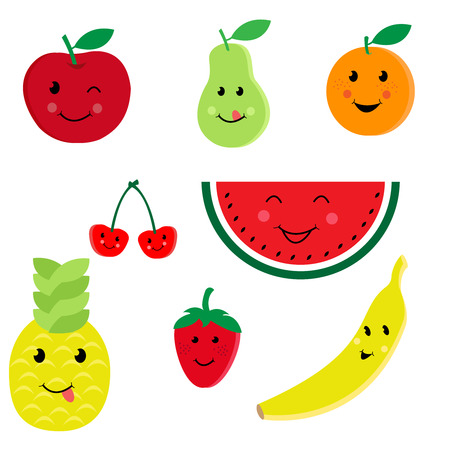 country kitchen: Cartoon fruit characters icon vector set