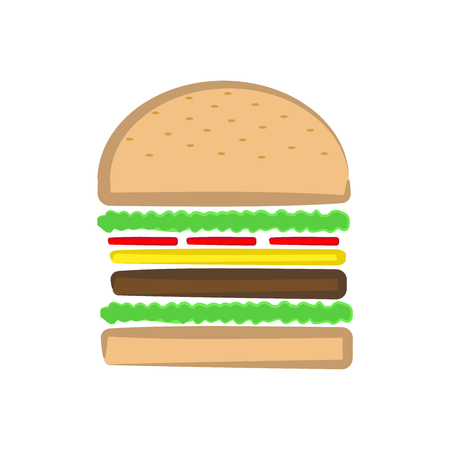 Burger Ingredients Vector Illustration on white background.