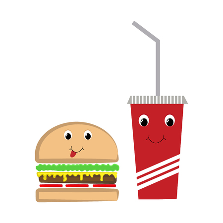 Fast food burger and drink with faces vector illustration on white background. Иллюстрация
