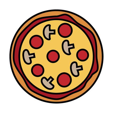 白い背景に、ベクトル図でおいしいピザのイラストです。  イラスト・ベクター素材