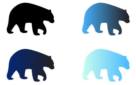 Four silhouettes of logo bears 矢量图像