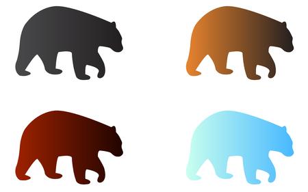 Four silhouettes of logo bears Ilustrace