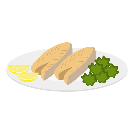 Vector illustration of four healthy meals. Fish, greens and lemons.