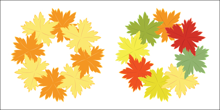 of helloween: Autumn garland of bright fall leaves. Colorful vector. Design element isolated on white.