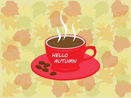 Hello autum coffee cup card. Red coffee cup with fall leaves background