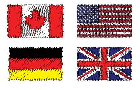 Stylized flags of Canada, Germany, Britain and America on plain white background.