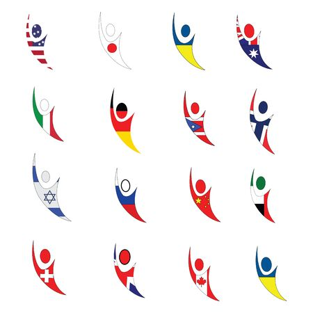 National flag collection of multiple contries on plain white background