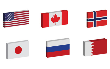 Collection of multiple 3D flags on plain white background