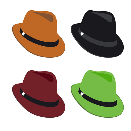Vector collection of colorful hats for men Illustration