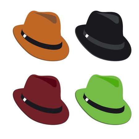 Vector collection of colorful hats for men Illusztráció