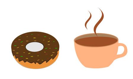 Koffie en donut vector