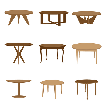 Set of table icons on white background.