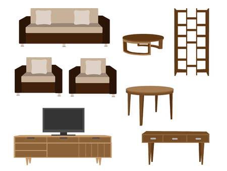 Set of furniture illustrations