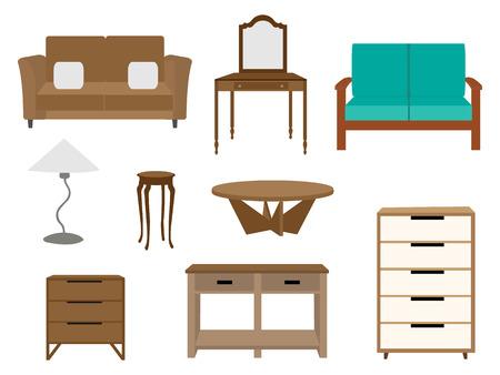 Set meubilair illustraties Stock Illustratie