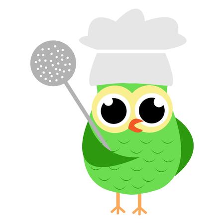 Vectorillustratie van een beeldverhaaluil met werktuig en chef-kokhoed.