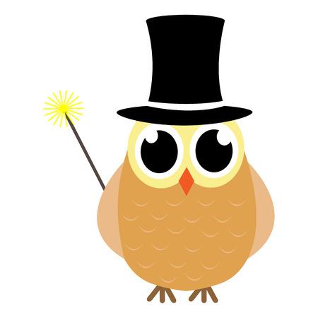 Cartoon style owl magician