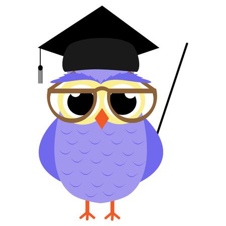 School Owl vector illustration Stock Illustratie
