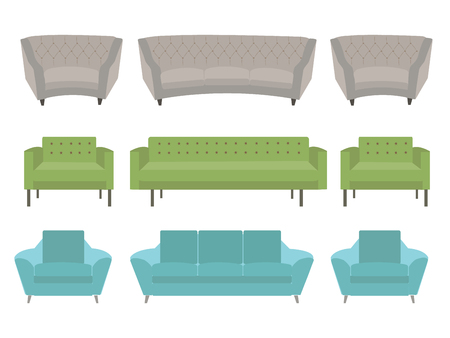 Vector set of furniture design couches on white background.