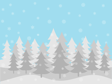 Blue and white winter forest background, vector illustration.