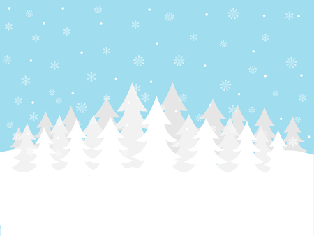 Blue and white winter forest background
