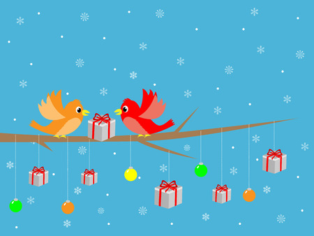 Cute merry christmas bird decorating tree Ilustracja