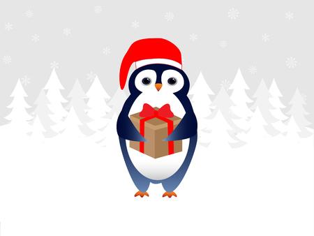 Merry Christmas penguin greeting card Vector illustration.