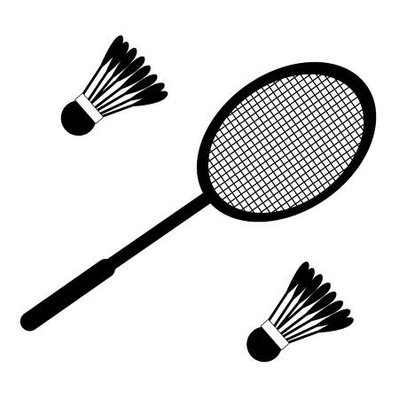 Vector set of badminton racket and shuttles