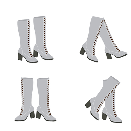 Vector white and grey boots