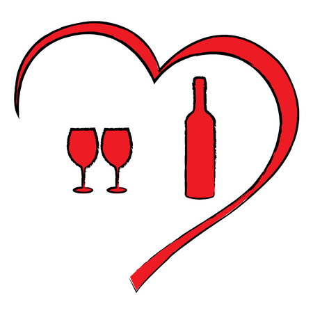 Valentines day heart with wine