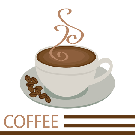 Perfect cup of coffee with steam. Vector illustration. Ilustração