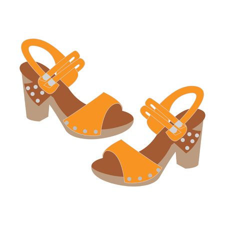 Vector illustration of a pair of womens sandals