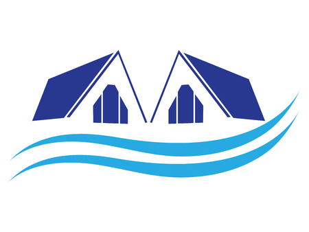 Blue beach house logo vector with waves Illusztráció