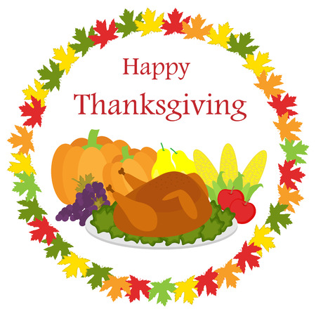 Happy Thanksgiving background with food and leaves Illustration