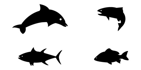 Vector illustration set of silloetted sea animals Vectores